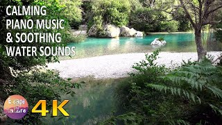 Relaxing piano music & soothing water sounds - Peaceful music for meditation-Sleep music - 4K video