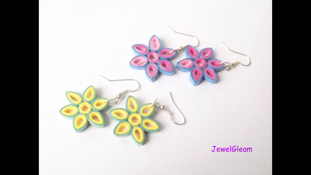 Papercraft Paper Quilled Flower Earrings Tutorial