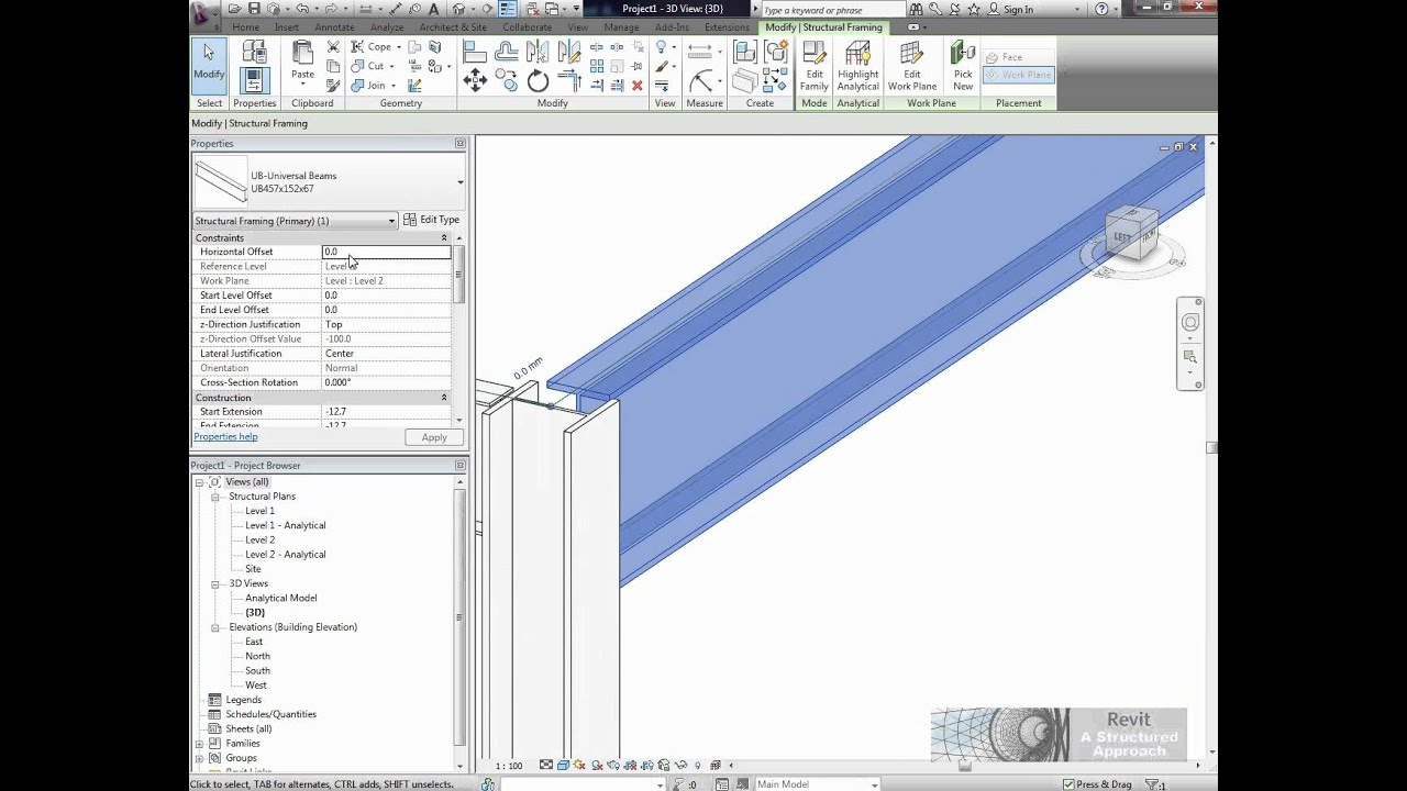 Revit Structure 2012 Tutorial Offsetting Structural