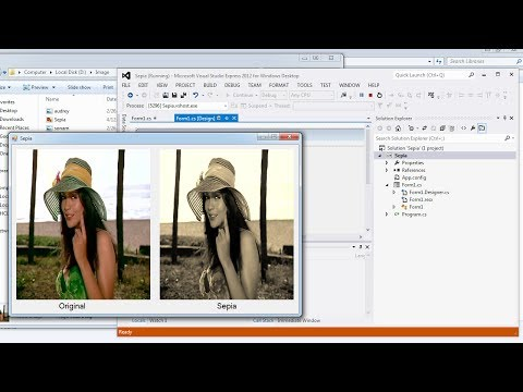 Visual Studio | Convert a color image into Sepia in C# - YouTube