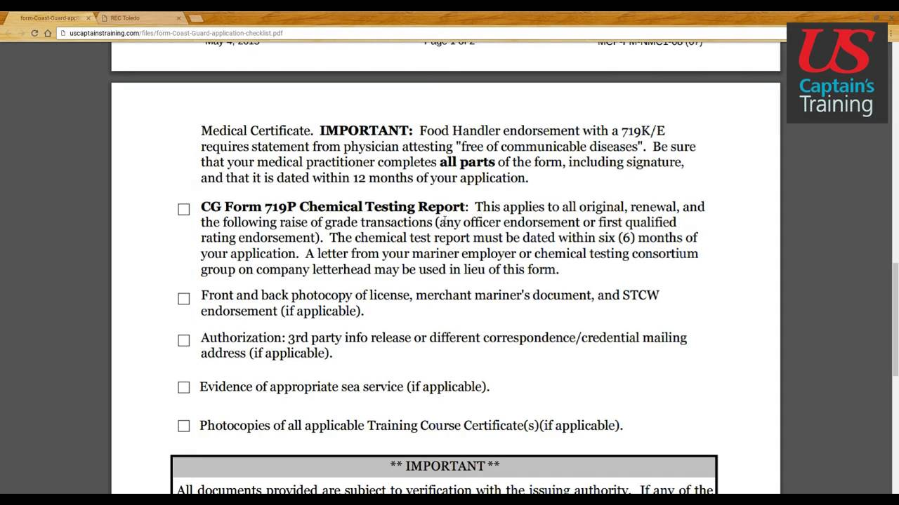 Captain's License Application Checklist - YouTube