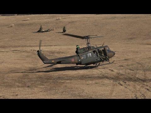 [4K] 降下訓練始め 2016 UH-1 ハードランディング!?