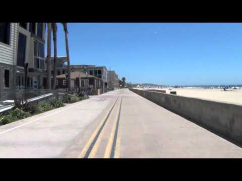 Pacific Beach / Mission Beach boardwalk, San Diego, Ca HD