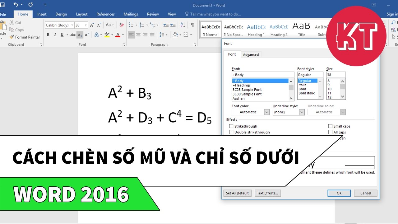 Word 2016 | Hướng dẫn cách chèn số mũ và chỉ số dưới