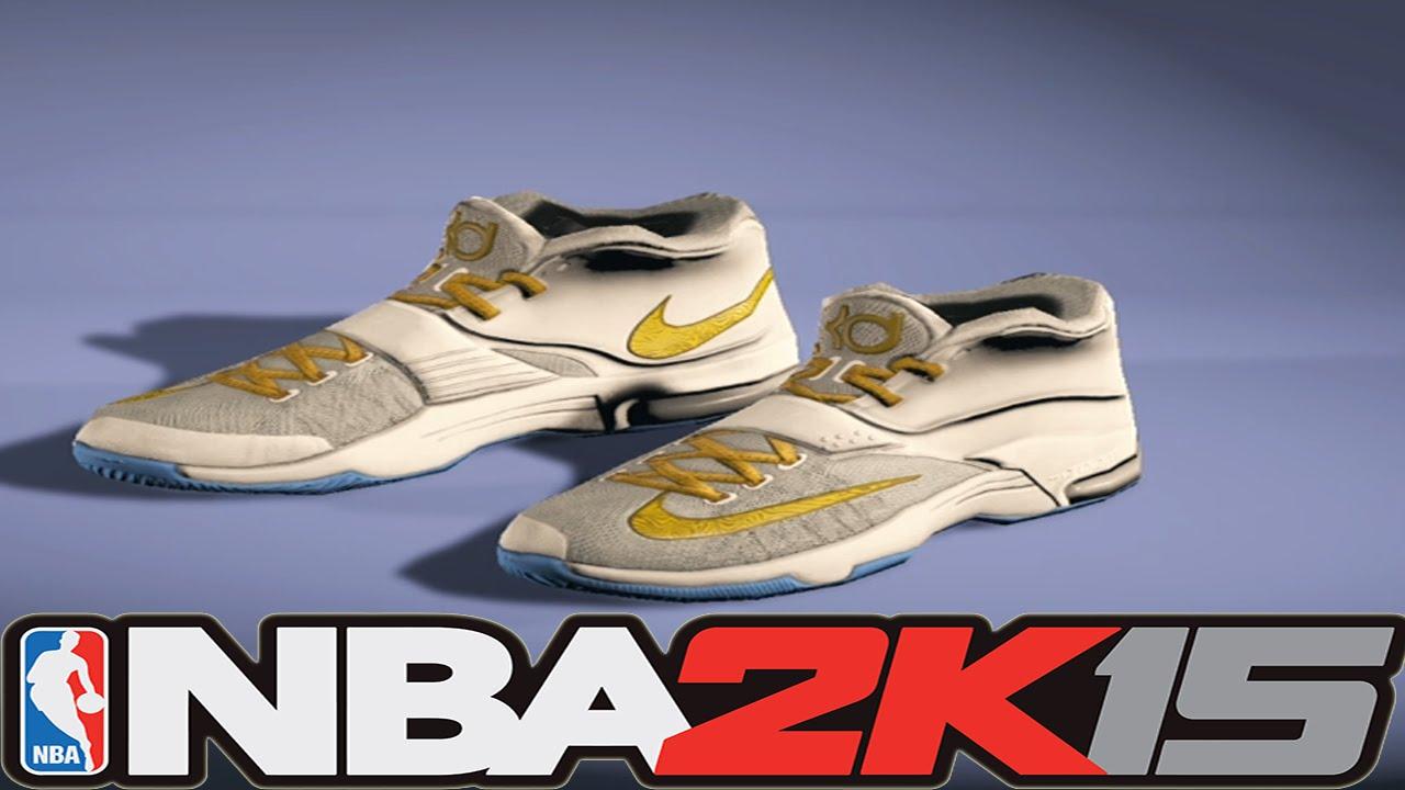 NBA 2K15 Shoe Creator - Nike KD 7 Custom White / Gold [#NBA2K15] - YouTube