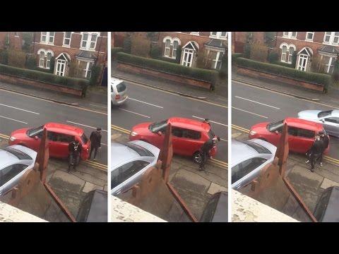 Angry Lads Bash Car Blocking Them On Driveway