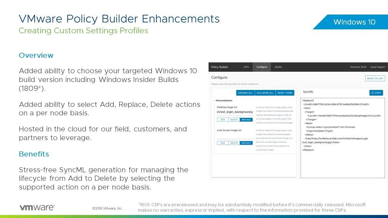 VMware Workspace ONE: Windows 10 Policy Builder Enhancements - Feature  Walk-through