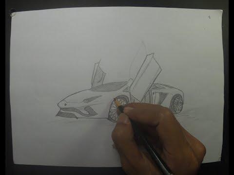 How To Draw a Sports Car - Lambhorgini Aventador S