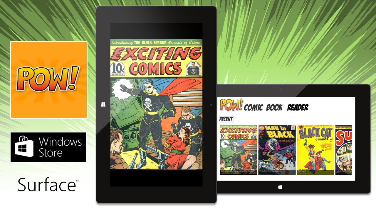 POW! Comic Reader on Surface Tablet with Windows RT
