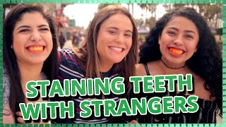 Strangers Staining Teeth Challenge  | Do It For The Dough w/ Ayydubs and Hunter March
