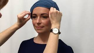 Two different ways of tying a chemo head scarf