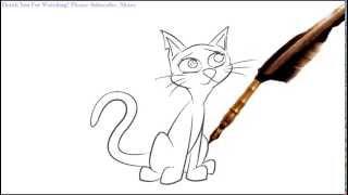 How to Draw a skinny cat cartoon