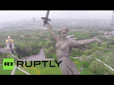 The Motherland Calls: Drone buzzes gigantic Battle of Stalingrad monument
