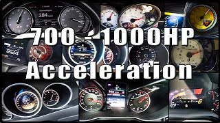 700 - 1000HP SUPERCAR Acceleration TUNED Compilation