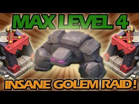 MAX LEVEL 4 INSANE SIX GOLEM RAID!! Clash of Clans