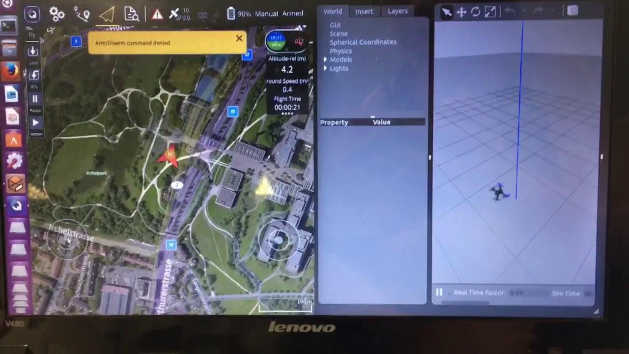 Quadrotor simulation using Gazebo and QGroundControl manual mode