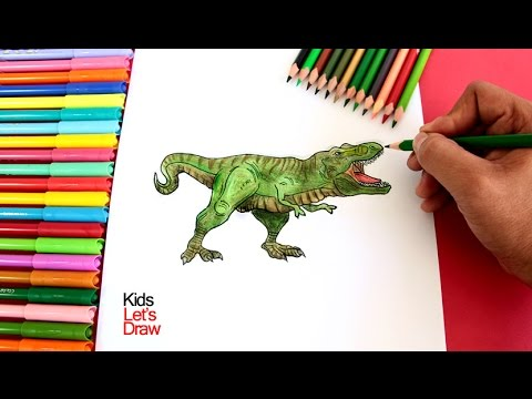 Cómo Dibujar Y Colorear Un Tiranosaurio Rex How To Draw A T Rex Dinosaur