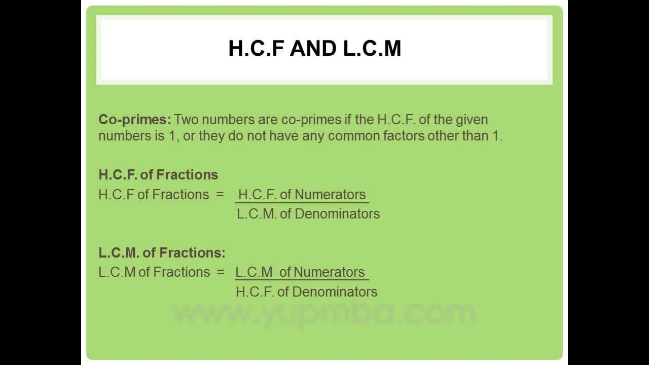 H C F And L C M Facts And Formulas