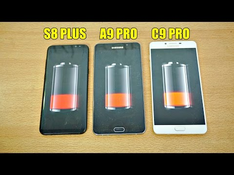 Samsung Galaxy S8 Plus vs A9 Pro vs C9 Pro - Battery Drain Test! (4K)