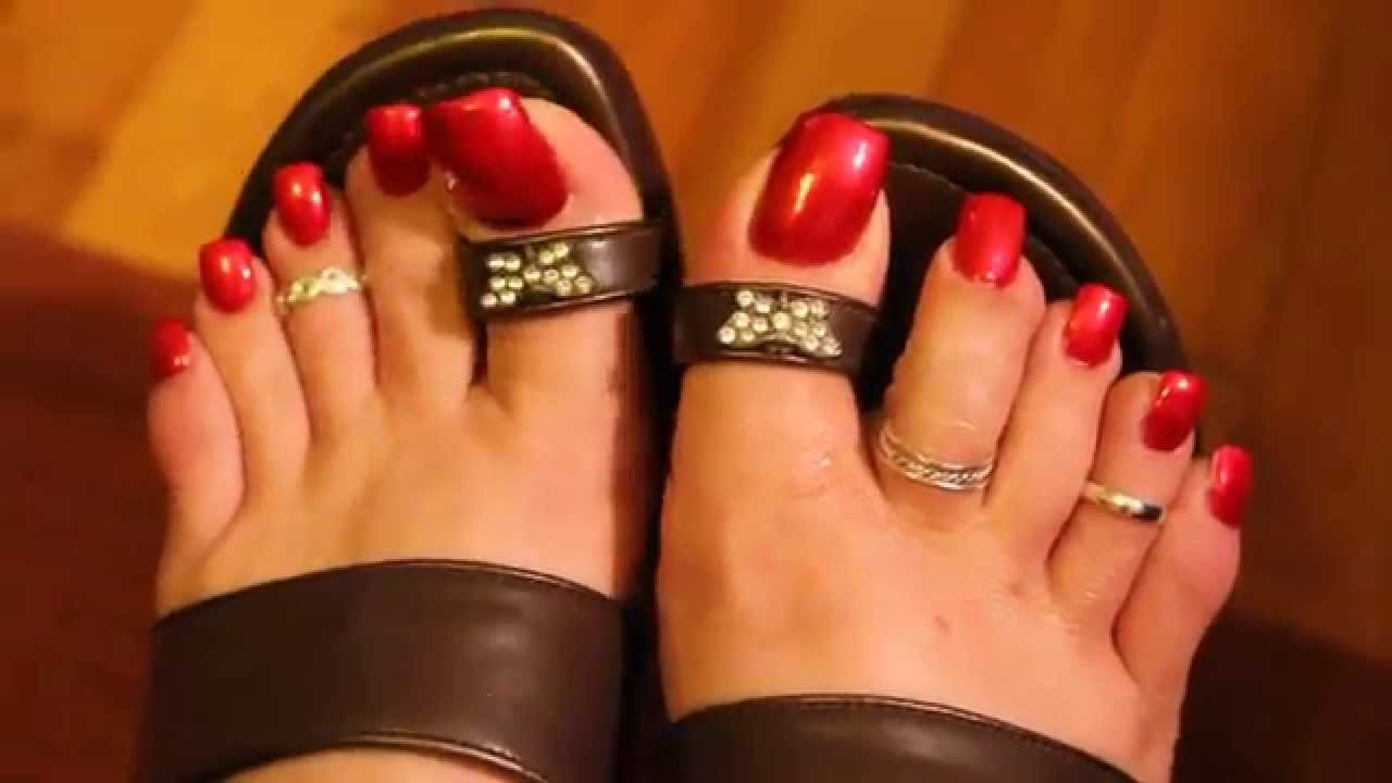 Long Red Painted Nails