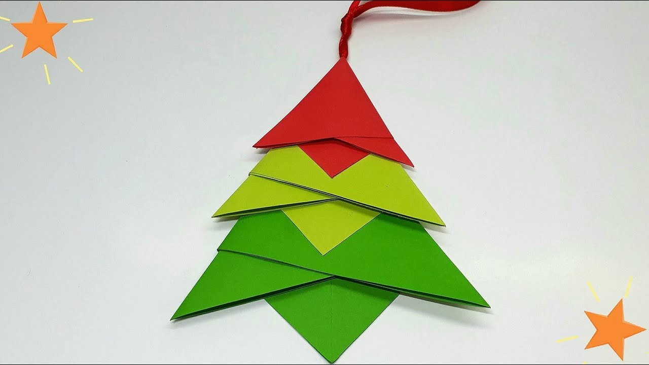 diy christmas decorative origami christmas tree pendant. Black Bedroom Furniture Sets. Home Design Ideas