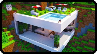 Minecraft: Modern House Mansion (easy) | How to build a house mansion in Minecraft (tutorial)