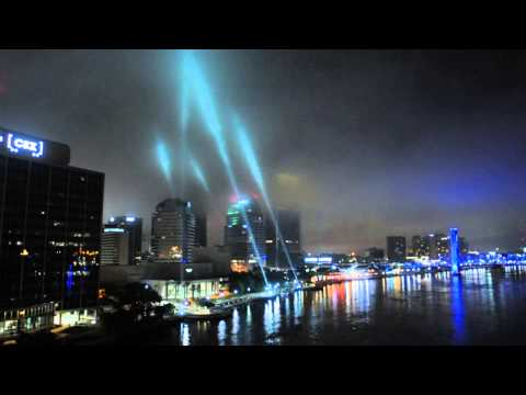 Searchlights at Jacksonville Landing During Earth Hour Jax Event