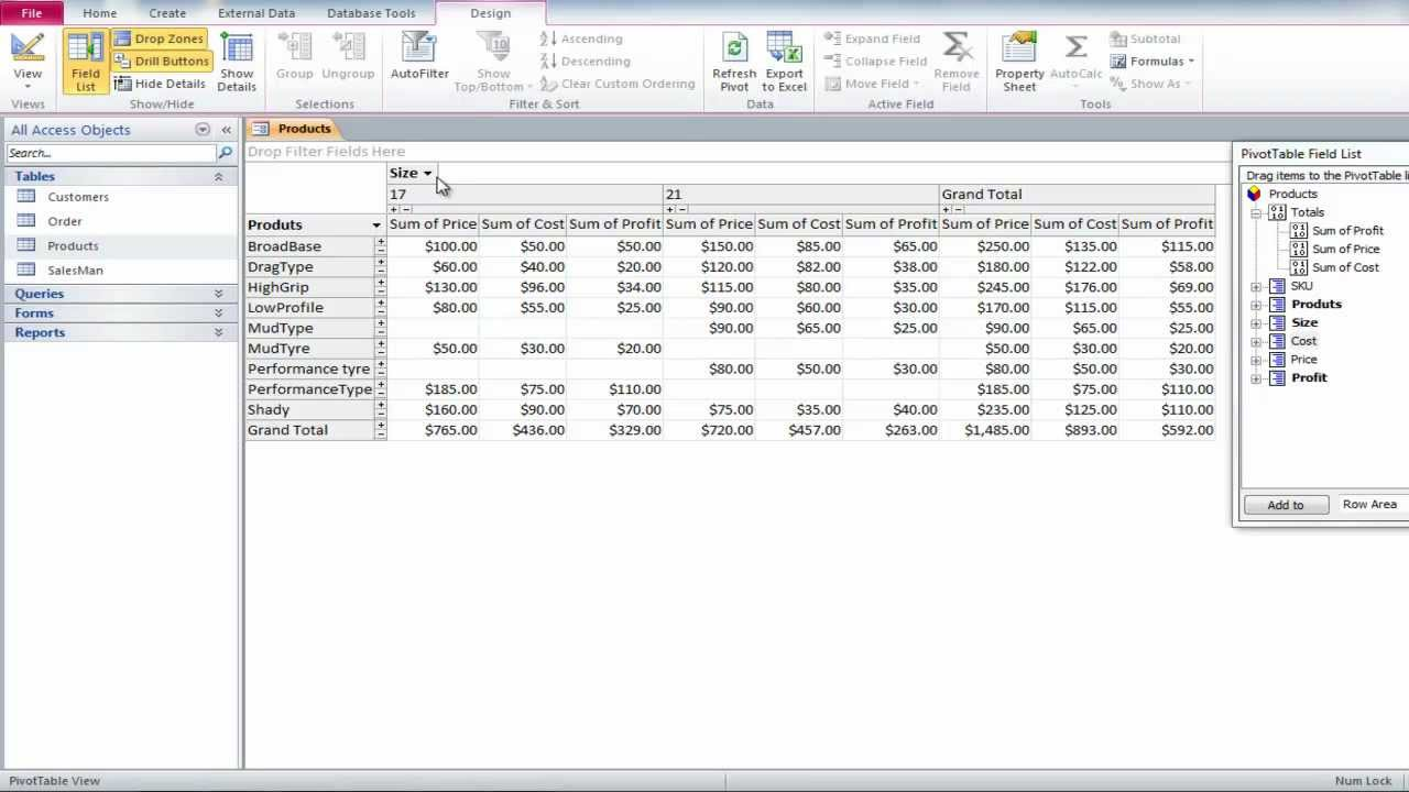 Create pivot table form access 2010 for Table design view in access 2010