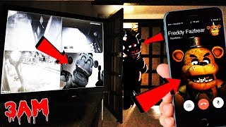 (CAUGHT ON SECURITY CAMERAS) CALLING FREDDY FAZBEAR ON FACETIME AT 3 AM! FNAF GAME IN REAL LIFE!