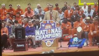 Clemson Tigers National Champions parade speech.