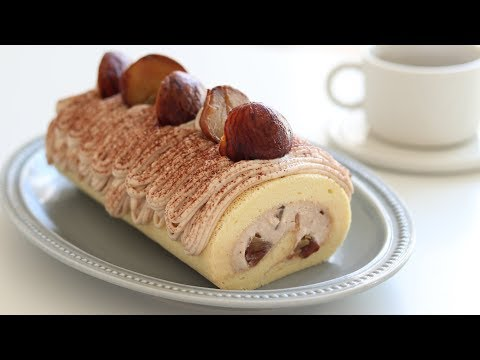 モンブランロールケーキの作り方 Mont Blanc Swiss Roll Cake|HidaMari Cooking