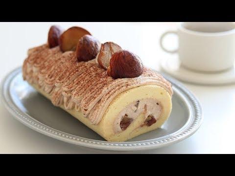 モンブランロールケーキの作り方 Mont Blanc Swiss Roll Cake|HidaMari Cooking