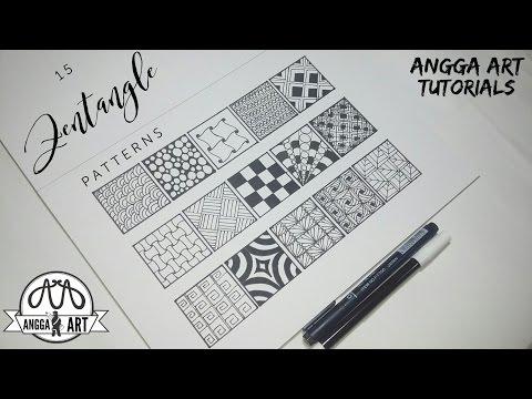 15 Zentangle Patterns | Angga Art Tutorials - YouTube
