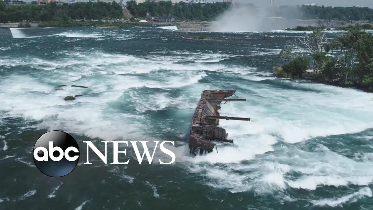 Powerful storm moves 100-year-old ship on Niagara Falls