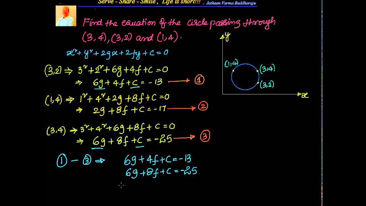Coordinate geometry: Circles: Passing through 3 points - Method1 ...