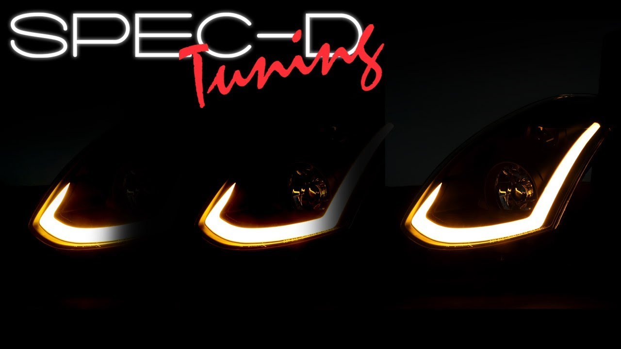 specdtuning lighting test 2003 2005 infiniti g35 coupe hid type led strip projector headlights [ 1280 x 720 Pixel ]