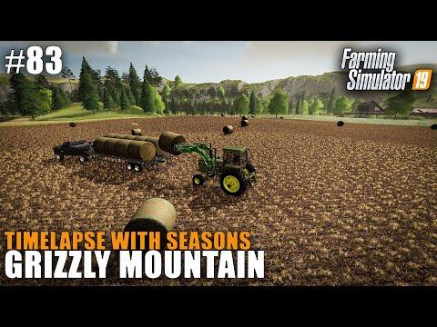 Grizzly Mountain Timelapse #83 Harvesting Wheat & Baling Straw, Farming Simulator 19 Seasons