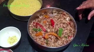 Breakfast+Lunch Day 6 Rava Pongal , Capsicum Rice, Dal Coconut Chutney,Tomato Onion raita