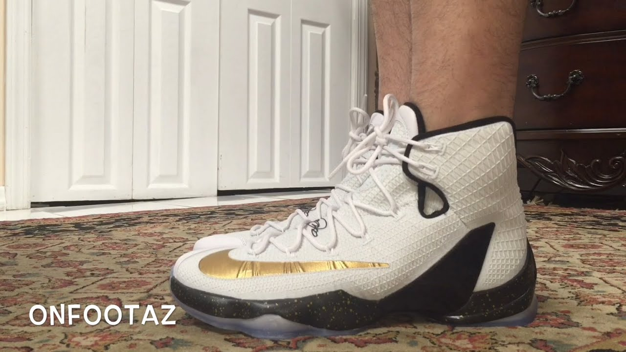 5f0d4176e1e Nike Lebron 13 XIII Elite White Gold On Foot - YouTube