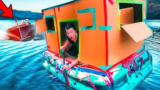 Floating Box Fort On A Lake  48 Hour Challenge  Escaping Project Zorgo