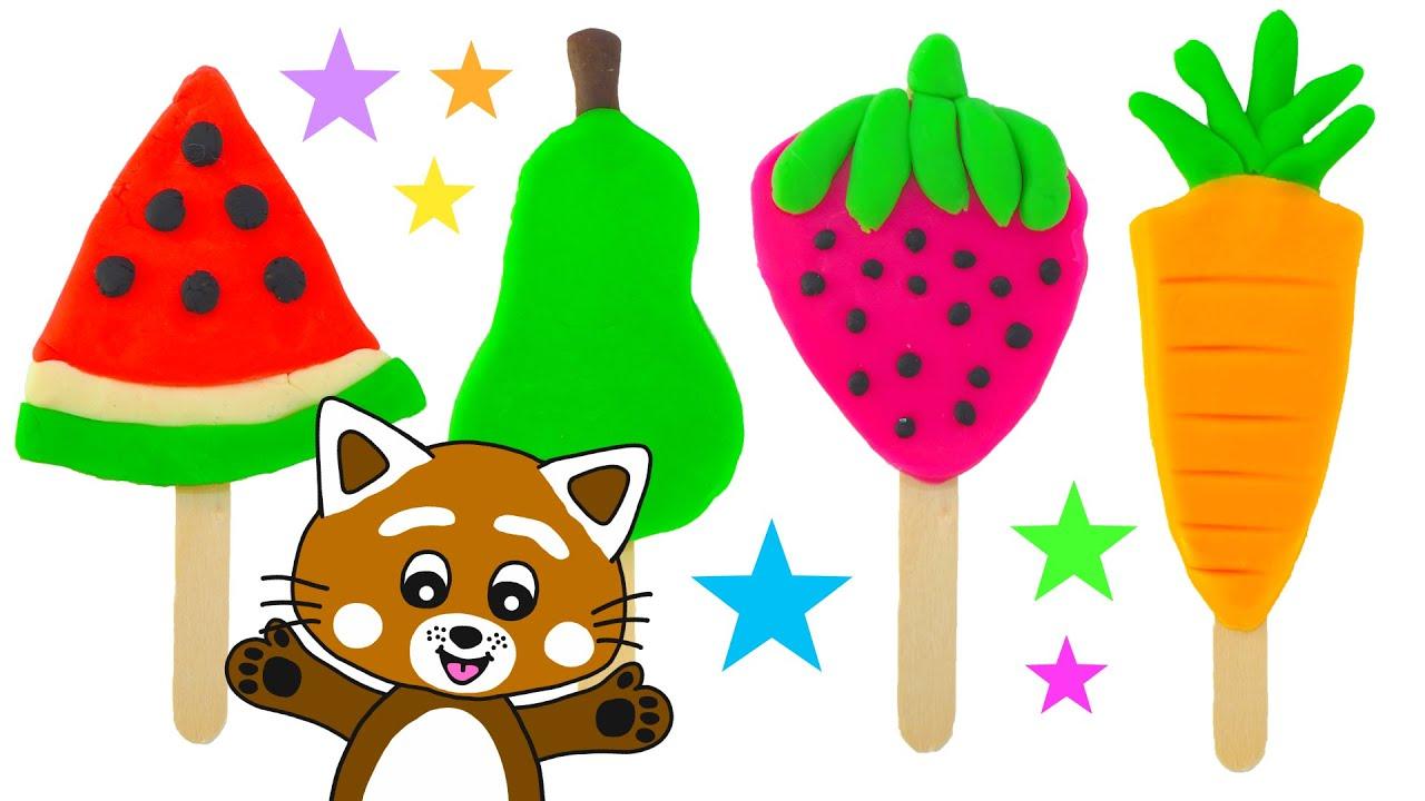 Pukkins gör roliga glassar i Play Doh - Lär dig färger med Pukkins - Lek med oss