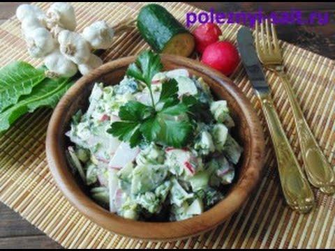 Простой весений салат с редиской, огурцом и яйцами