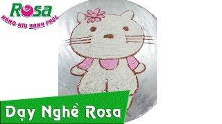 Trang trí bánh kem sinh nhật Mèo Kitty đơn giản