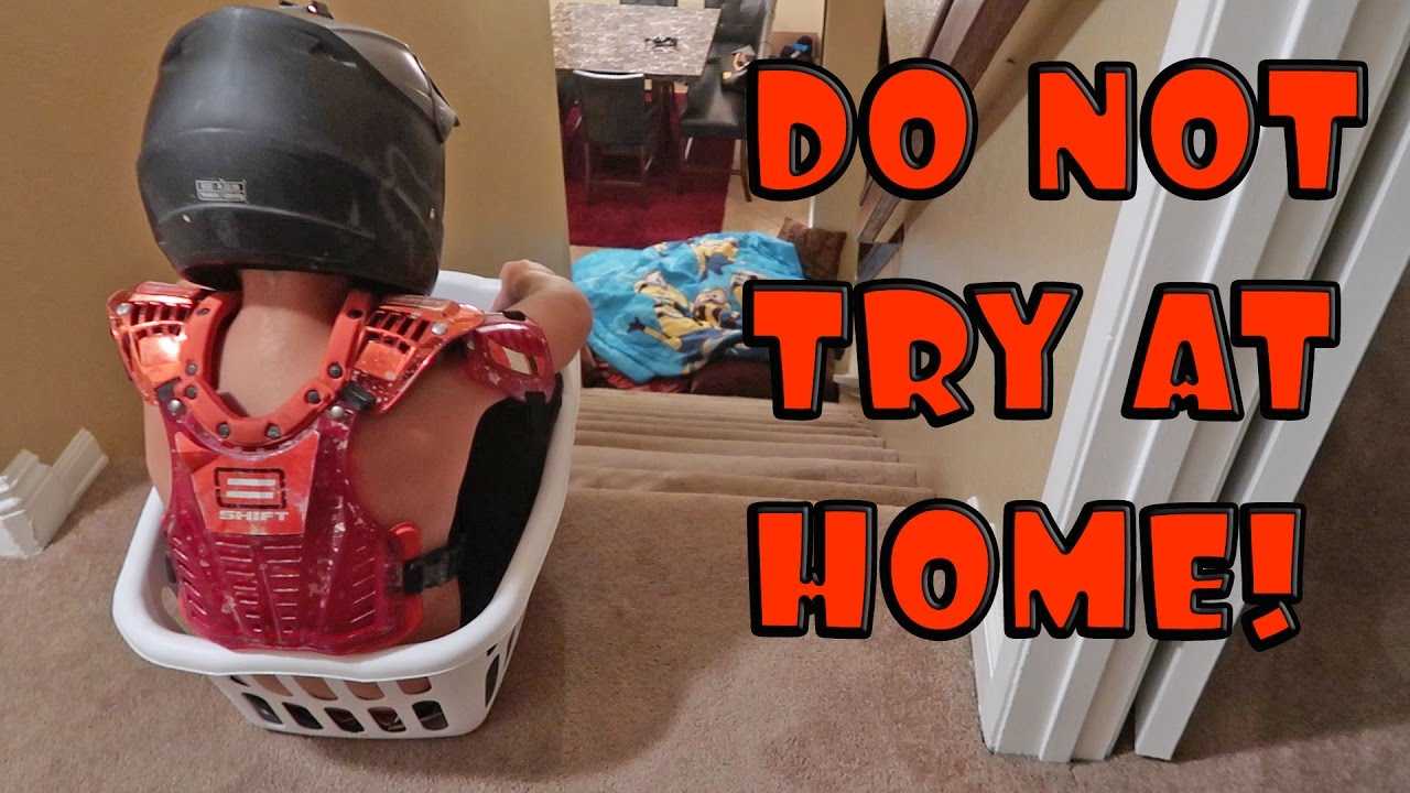 KID IN LAUNDRY BASKET VS STAIRS!   YouTube