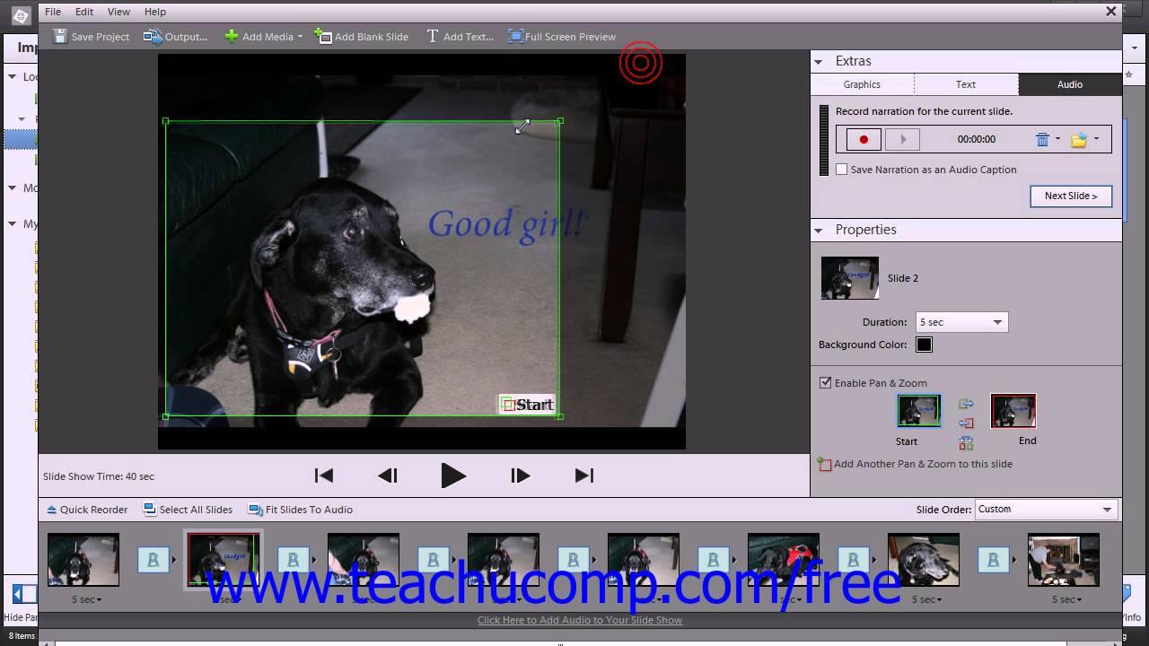 Create slideshows in Elements Organizer