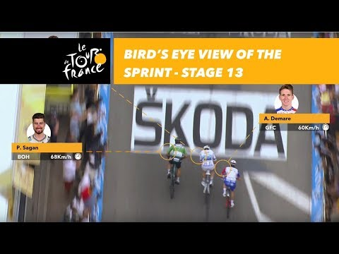 Bird's eye view of the sprint - Stage 13 - Tour de France 2018