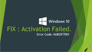 fix windows 10 activation failed with error code 0x803f7001