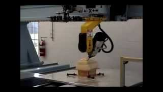 DMS 5 Axis CNC Router - Tool Change and Wood Shaping