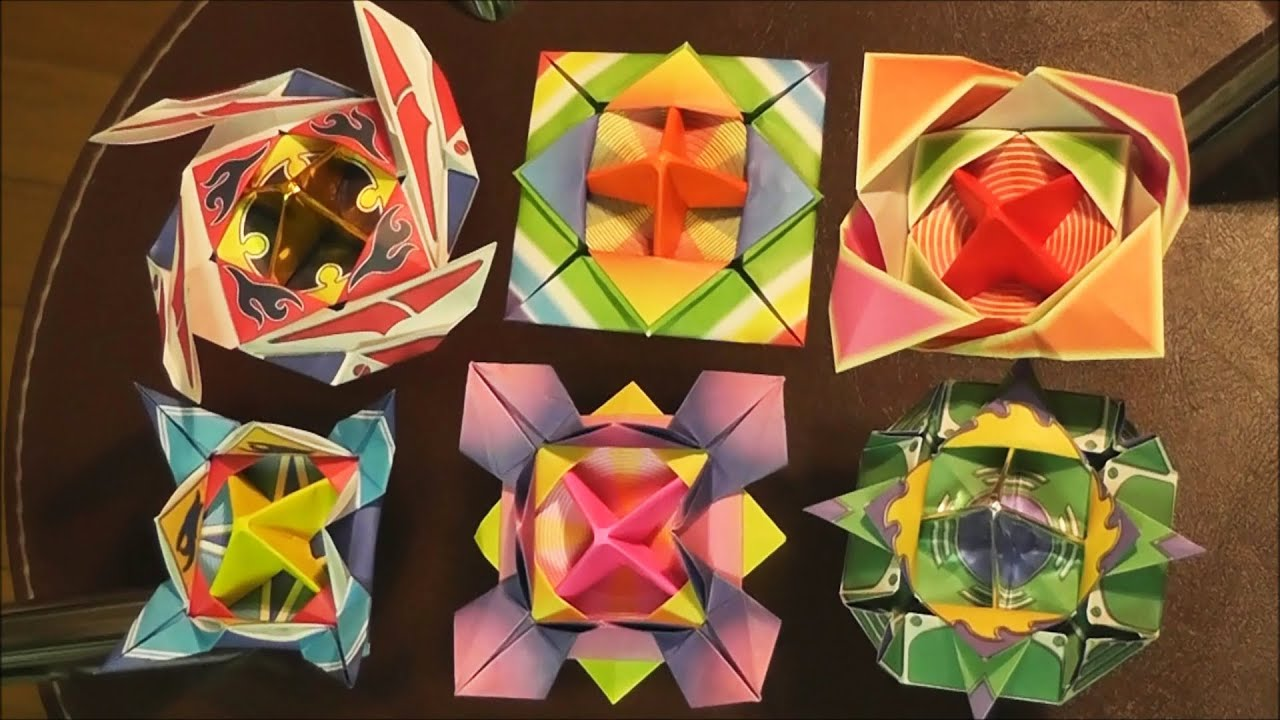 折り紙の 折り紙のコマの作り方 : Origami Spinning-Top