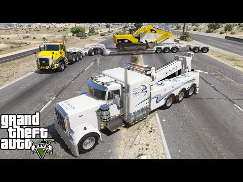 gta-5-real-life-mod-#139-peterbilt-tow-truck-wrecker-towing-oversize-load-lowboy-trailer-&-excavator